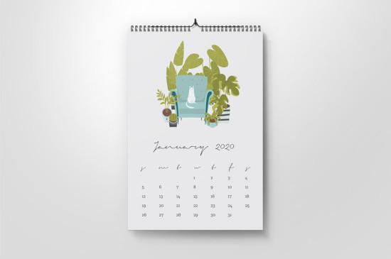 Spiral calendar, wiro bound with hanger, A5, A4, A3