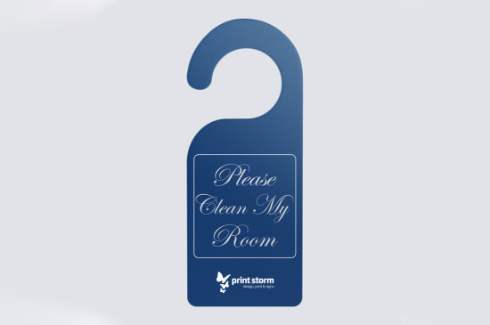 Door hanger with rounded hook printed single or double sided on premium artboard