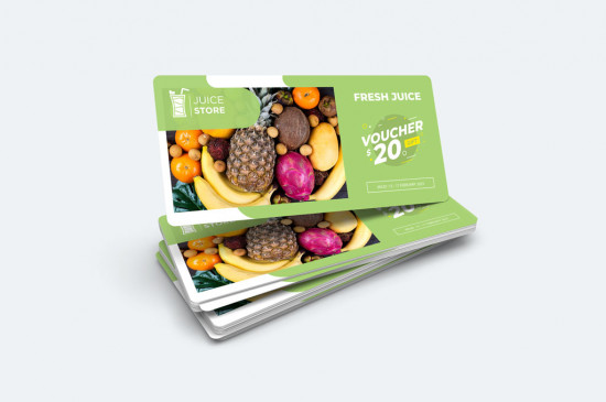 DL Gift vouchers, printed full colour one side or two, rounded corners on premium board