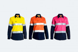Hi Vis Workwear, long sleeved cotton, reflective taped shirts, safety, three colour options