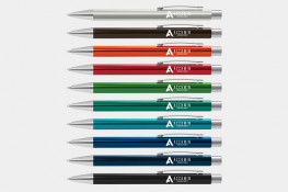Lancer Pens, coloured anodised aluminium, chrome highlights, colour printing or laser engraving