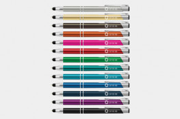Panama stylus pens, multiple colours, anodised barrel, one, two, full colour or laser engraved, chrome highlights, ballpoint pen and touch screen stylus