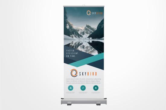 Pull up banner, range of sizes, easily portable, full colour, crisp reproduction