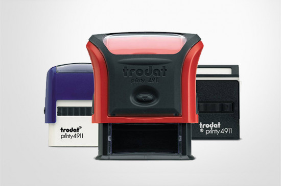 Cheap self-inking stamps, customised, black, red, blue, green, violet ink, range of sizes