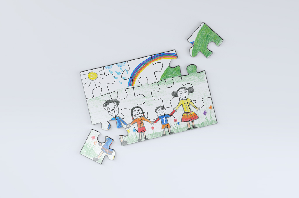 Custom jigsaw puzzles, kid size, choose how many pieces and dimensions